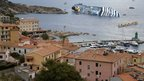 Capsized Costa Concordia cruise ship seen off Giglio island on 15 January 2012