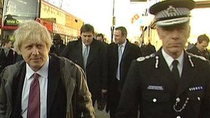 Boris Johnson and Met Police Commissioner Bernard Hogan-Howe