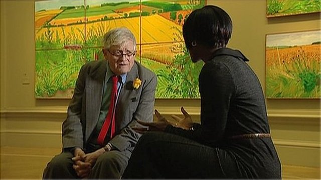 David Hockney with BBC London's Brenda Emmanus