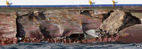Damaged hull of ship