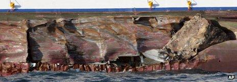 Damaged hull of ship