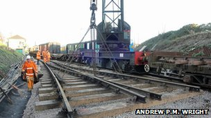 Volunteers carrying out drainage work at Swanage station