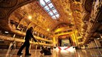 Darren Unsworth, maintenance engineer for the Blackpool Tower Ballroom, polishes the dance floor during the annual clean of the ballroom