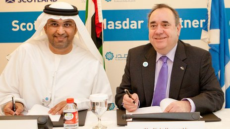 Dr Sultan Al Jaber, from Masdar and Alex Salmond sign the agreement