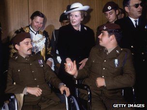 Margaret Thatcher with wheelchair-bound veterans, 1982