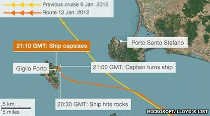 Map showing Costa Concordia's route as it hit rocks off the Italian coast