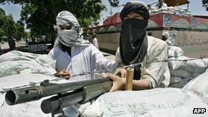Gunmen defending the Red Mosque, Islamabad, in 2008