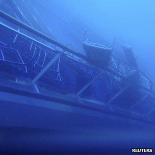 Underwater shot of the ship