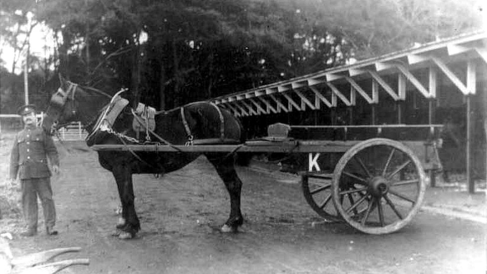 Horse and cart at Lathom Park depot