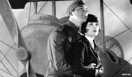"Charles ""Buddy"" Rogers and Clara Bow as they appear in Wings, 1927. Courtesy of Ampas."