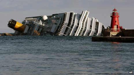 The stricken cruise liner Costa Concordia off Giglio (17 January)