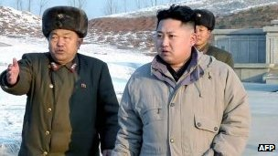 New leader Kim Jong-un visits construction site on 12 January 2012 (image via KCNA)