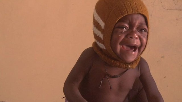 Baby in clinic crying