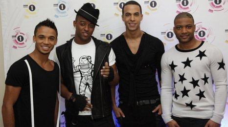 Aston, Orits (second left), Marvin and JB from JLS