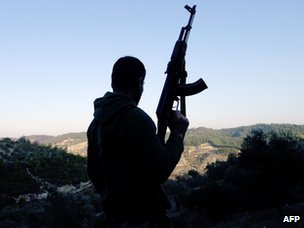 A member of the Free Syrian Army in the Idlib province of Syria, close to Turkey