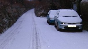Snowy lane in Cornwall Pic: Jesse Foot