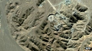 The Iranian nuclear site at Fordo - seen here in a 2009 satellite image - is now producing uranium enriched to 20%