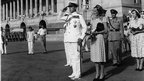 Lord Mountbatten taking the salute at the guard of honour, Rashtrapati Bhawan, when leaving office as the governor-general in June 1948