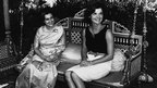 Jacqueline Kennedy and Indira Gandhi at Teen Murti House in 1962
