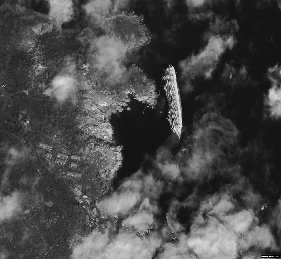 Satellite view of stricken Costa Concordia