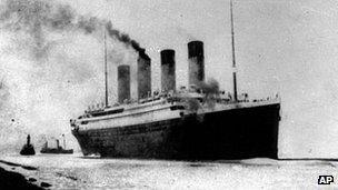 RMS Titanic leaving Southampton on her maiden Atlantic voyage on 10 April 1912
