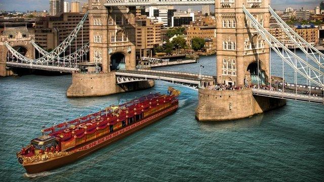 Artist's impression of The Royal Barge by Tower Bridge
