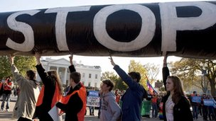 Protesters at the White House on Sunday 6 November