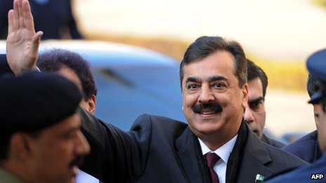 Yousuf Raza Gilani arrives at the Supreme Court in Islamabad