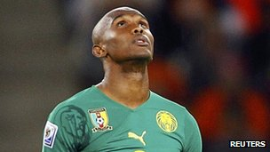 "Cameroon""s Samuel Eto""o prays before the team""s 2010 World Cup Group E soccer match against Netherlands at Green Point stadium in Cape Town in this June 24, 2010 file photo."
