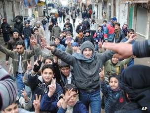 Children protest on the streets of Zabadani (17 January 2012)