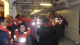 Passengers evacuating the Costa Concordia