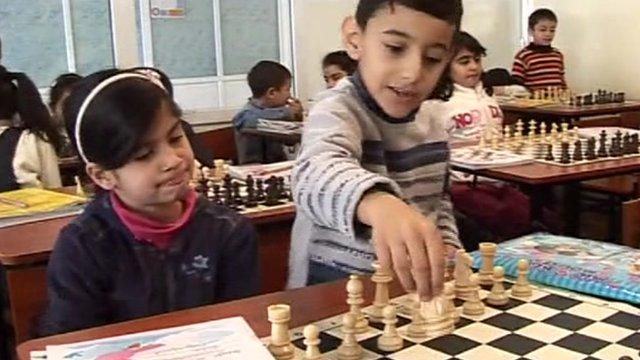 Armenian children having chess lessons at school.