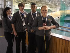 School Reporters at the velodrome in Wales