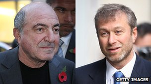Russian oligarchs Boris Berezovsky (left) and Roman Abramovich (right)