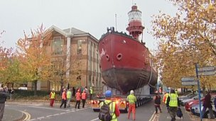 Calshot lightship being moved