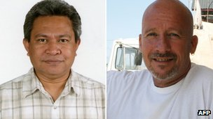 Indonesian aid worker Andrias Karel Keiluhu (L) and Philippe Havet (R) who were killed in Mogadishu on 29 December 2011