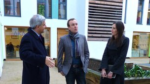 Chris Huhne talking to Chris Thompson and Karen Stafekis