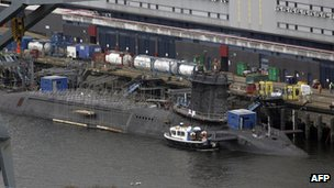 Nuclear submarine at Faslane base
