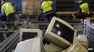 Old PCs at recycling centre near Paris - file pic
