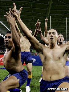 Niue players perform their Haka before a sevens match