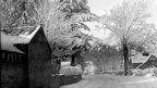 Snow covered houses and trees in black and white. Photo: Robert Bovill