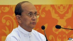File picture of Burma's President Thein Sein delivering a speech on 20 December, 2011