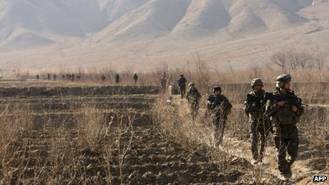 French soldiers taking part in a patrol near Tagab in Kapisa Province