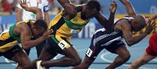 Usain Bolt gets off the blocks