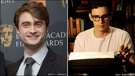 Daniel Radcliffe (left) and James Franco as Allen Ginsberg from the film Howl