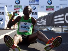 Patrick Makau after running a world record time in Berlin