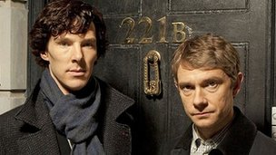 Benedict Cumberbatch as Sherlock Holmes and Martin Freeman as Dr Watson