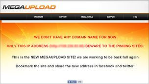 Screenshot of new Megaupload site