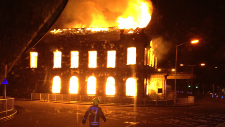Chapel fire Photo: Mid and West Wales Fire Service