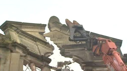 The chapel being demolished